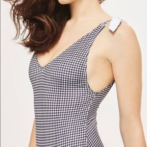 Topshop Gingham One-Piece Swimsuit